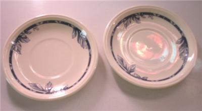 Primary image for STAFFORDSHIRE ENGLAND TABLEWARE 2 SAUCERS BLUE LEAVES