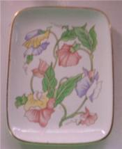 BEN RICKERT COUNTRY FLORAL PORCELAIN DISH GOLD TRIM - $9.99