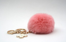 Peach-Pink REX Rabbit fur pom pom ball with bla... - $16.99