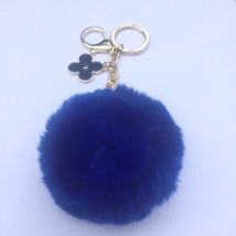 Royal Blue fur pom pom keychain REX Rabbit fur ... - $17.99