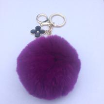 Electric purple fur pom pom keychain REX Rabbit... - $17.99