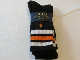 Polo Ralph Lauren Ragazzi Calzini 3 Paia Misura 8-9.5 Scarpe 13-3 Nero - $18.70
