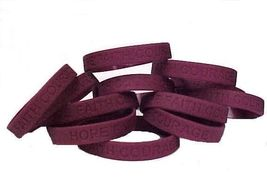 Burgundy IMPERFECT Bracelets 12 Piece Lot Cancer Cause Silicone Wristban... - $8.52