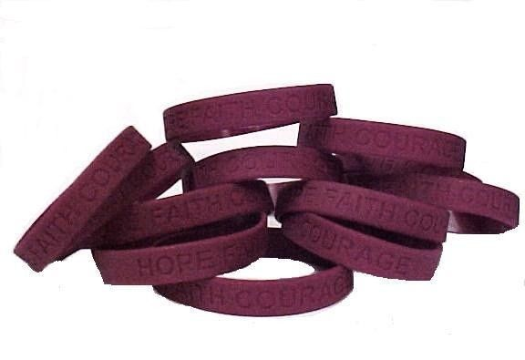 "Burgundy IMPERFECT Bracelets 12 Piece Lot Cancer Cause Silicone Wristband 8"" New"