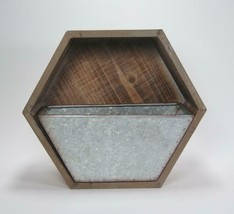 """10"""" Wood Wall Mount Hexagon Shaped Wall Pocket with Removable Galvanized Bin - $45.49"""