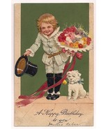 PFB Series 9738 Girl with top hat and dog Bouquet of flowers  Postcard - £4.55 GBP
