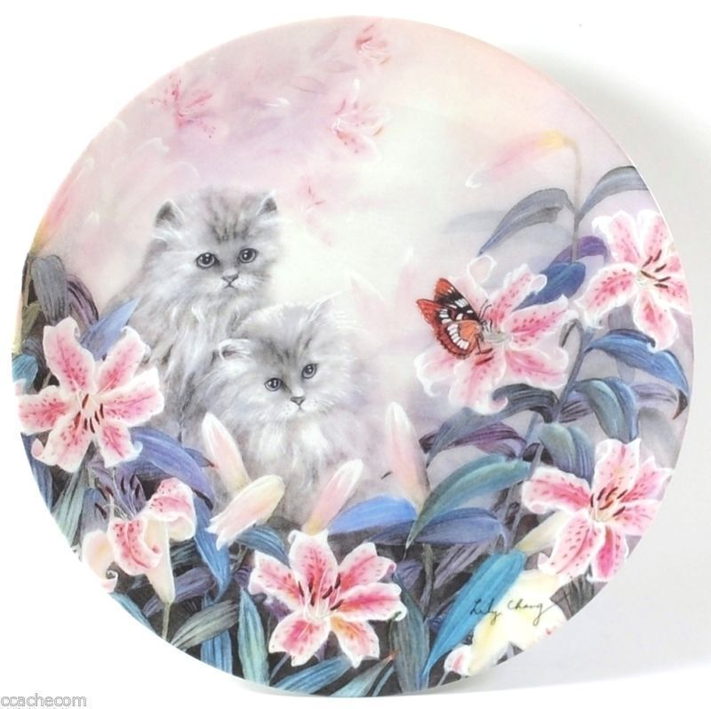 Petal Pals 'Flowering Fascination' 1992 Lily Chang Kittens Cats Bradford Plate