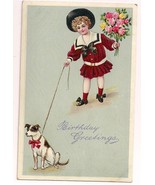 Adorable girl birthday greeting vintage postcard with roses & terrier dog 2 of 2 - £6.65 GBP