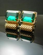 Vintage Green GLass cuff links Wrap Mesh Cufflinks Rhinestone Gold  st patricks  - $85.00