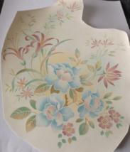 """1 Blue and Pink Flowers Waterslide Ceramic Decals 9"""" - Vintage - $4.50"""
