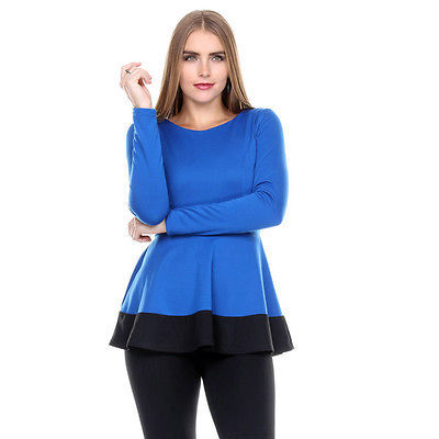 Stanzino Stanzino Women's Coloblock Long Sleeve Round Neck Tunic Peplum Top- Blu