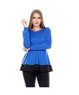 Stanzino Stanzino Women's Coloblock Long Sleeve Round Neck Tunic Peplum ... - $385,96 MXN