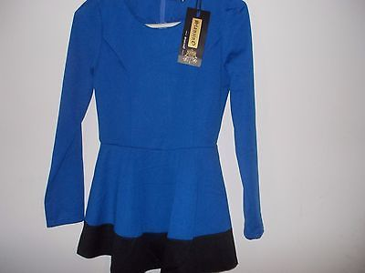 Stanzino Stanzino Women's Coloblock Long Sleeve Round Neck Tunic Peplum Top- Blu image 4