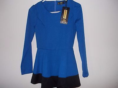 Stanzino Stanzino Women's Coloblock Long Sleeve Round Neck Tunic Peplum Top- Blu image 3