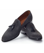 Handmade men dark gray suede leather moccasins shoes, Men suede leather ... - $159.99