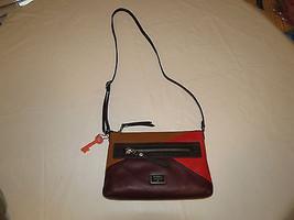 Fossil ZB6654995 Dawson Crossbody Red Multi eather top zip purse NWT*^ - $146.51