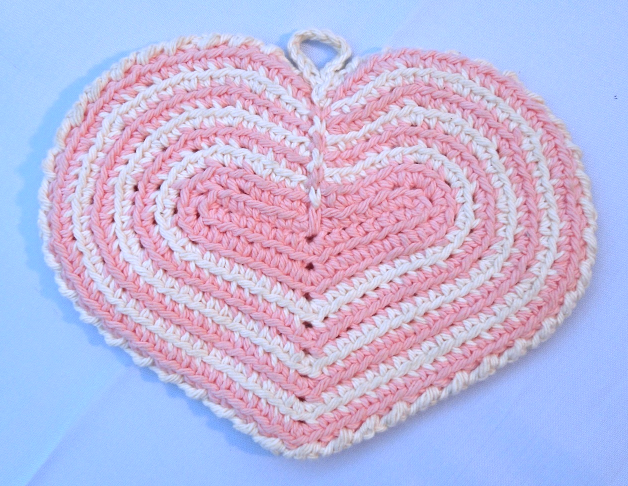 Primary image for Vintage Double Layered Hand Crocheted Pink and Cream Hot Pad #4956