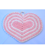 Vintage Double Layered Hand Crocheted Pink and Cream Hot Pad #4956 - $6.79
