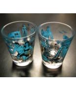 Myrtle Beach South Carolina Shot Glass Set of Two Blue Gold Illustration... - $11.99