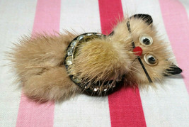 Darling Mid Century Real Mink Fur and Rhinestone Kitty Cat Brooch w/ Googie Eyes - $24.00
