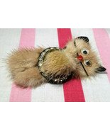 Darling Mid Century Real Mink Fur and Rhinestone Kitty Cat Brooch w/ Goo... - $24.00