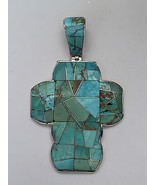 Sterling Silver Handmade Natural Multiple Turquoise Stone Cut Wide Cross... - $197.99