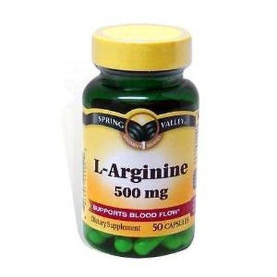 L-Arginine Spring Valley 50 Capsules 500 Mg