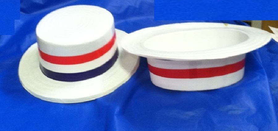 12 pack POLITICAL EVENT VOTE HATS SKIMMER PLASTIC RED,WHITE AND BLUE ADULT SIZED