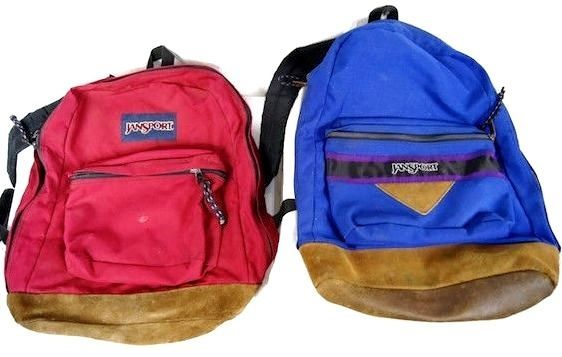 JANSPORT Backpacks Suede Leather Bottom Lot of 2 Vintage 1990s Nylon Day Pack