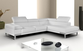 J&M Nicoletti White Top Grain Italian Leather Sectional Sofa Chic Modern Left