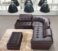 J&M 397 Full Top Grain Italian Leather Sectional Sofa Chic Modern Brown Left
