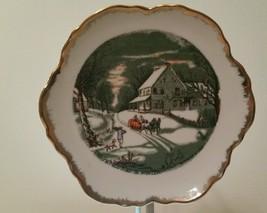 "VINTAGE Currier & Ives ""Homestead in Winter"" gold rimmed decorator plate... - $19.80"
