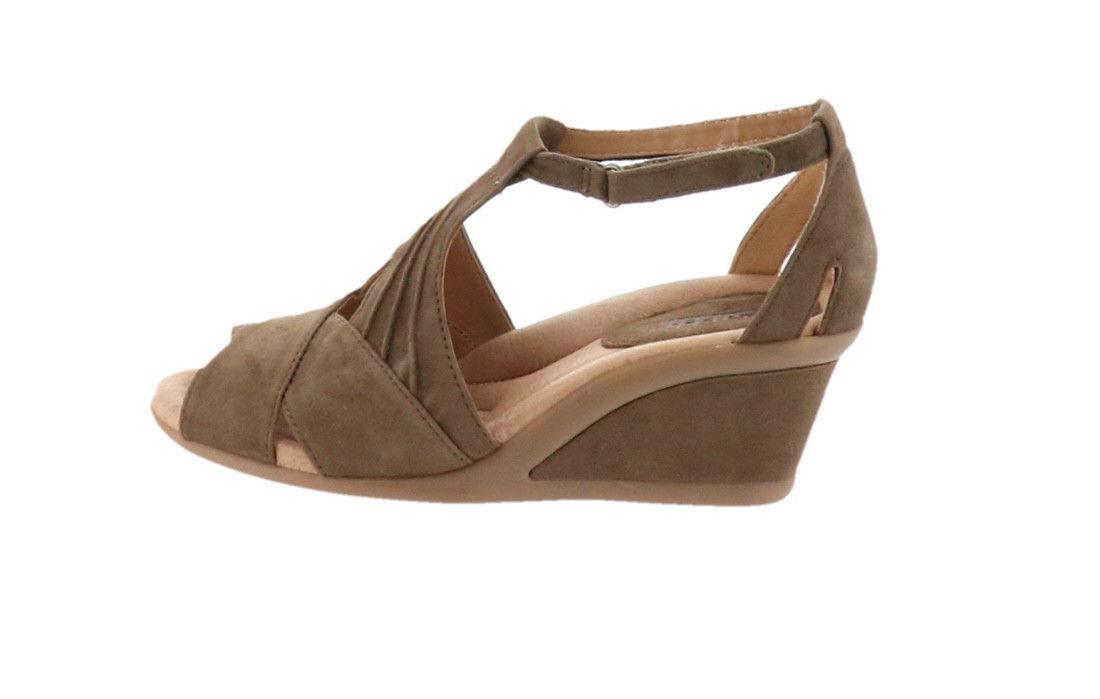 93cb10df41bb Earth Suede Peep-Toe Wedge Sandals Curvet Dark Khaki 9M NEW A288114 -  49.48