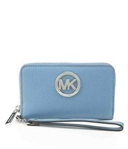 Michael Kors MK Fulton Lg Multifunction Wallet Phone Case Clutch NWT Sky... - $69.17