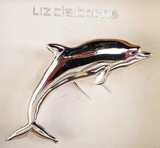 """Silvertone LIZ CLAIBORNE Metal 2.5"""" Dilphin Fis... - $15.70"""