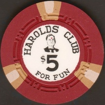 $5 Casino Chip, Harolds Club, Lake Tahoe, NV. 1959. I66. - $9.50