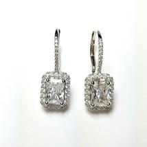 ZirconZ Sterling Silver Emerald Cut Signity CZ Halo Lever Dangle Earrings - $59.99