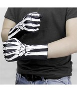 Halloween Masquerade Skeleton Gloves Ghost Bone Reaper Print Full Finger... - $15.82+