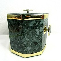 Mid Century Ice Bucket Barware Bar Décor Plastic Marbled Green Made in T... - $34.65
