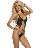 Starline Black Lacey Vixen Strappy Teddy Lingerie OS RL4612 - $36.99