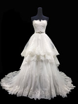Rosyfancy Lace Trimmed Tiered Skirt Strapless Wedding Dress With Beaded ... - $275.00