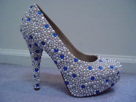 glitter wedding shoes ivory pearls blue swarovski crystal closed toe bridal heel - $145.00