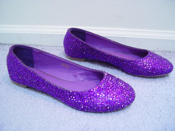 Bridal Wedding Flats Purple Rhinestone Crystal Ballet Flats Bright Purple Prom - $95.00