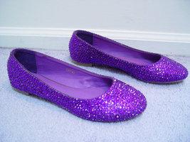 Bridal Wedding Flats Purple Rhinestone Crystal Ballet Flats Bright Purpl... - $95.00