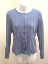 Talbots Collection S Cardigan Blue Cable Knit Silk Blend Sweater - $21.54