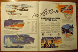 Vintage Two Page 1942 United Aircraft Corporation Wartime Advertisement - $7.50