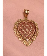 VTG Beverly Hills Gold 14K Rose/ YELLOW Gold Heart Pendant 30X20MM 2.4 G... - $127.71