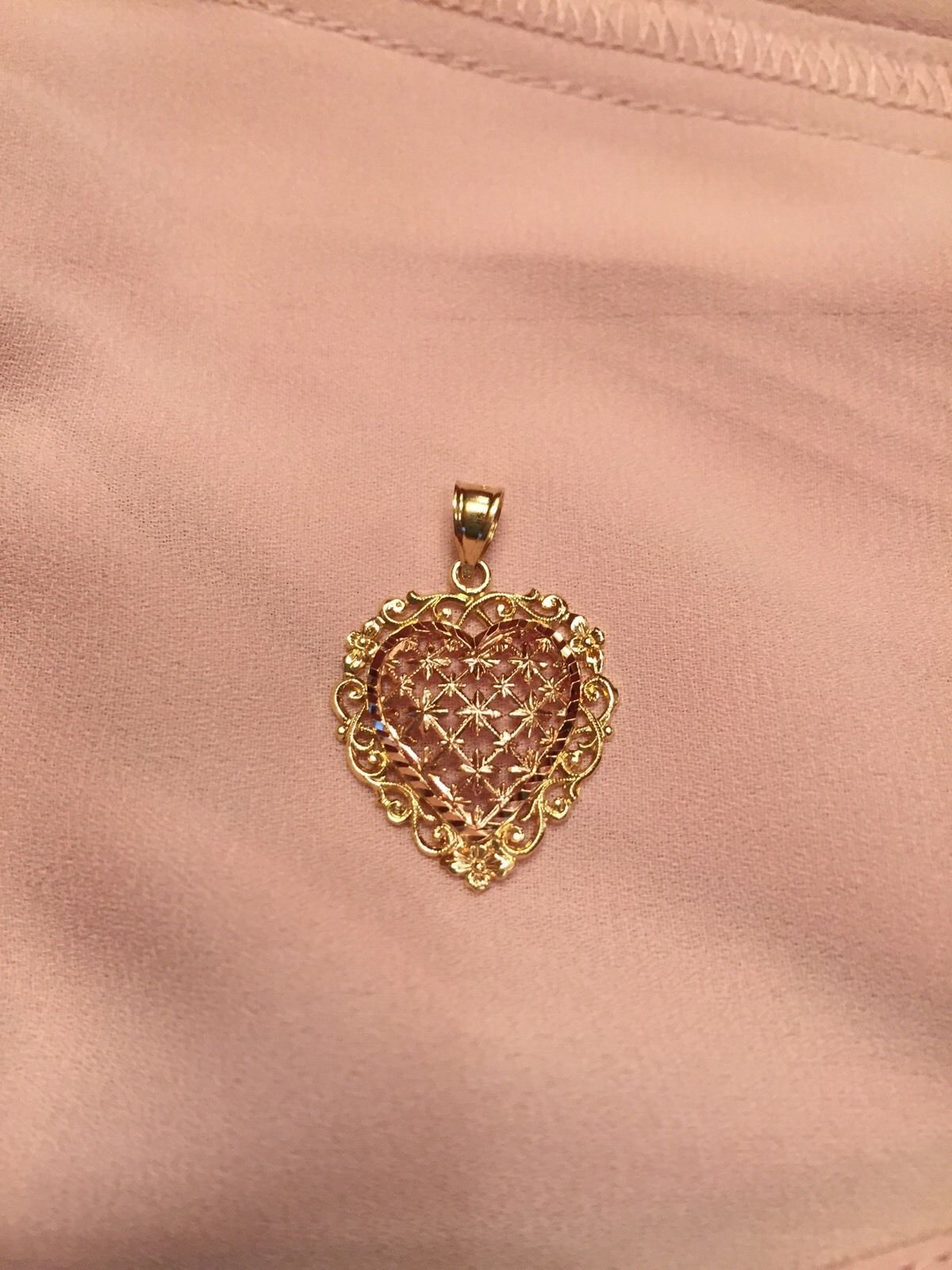 VTG Beverly Hills Gold 14K Rose/ YELLOW Gold Heart Pendant 30X20MM 2.4 GRAMS EUC