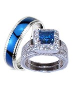 His Hers 3 Piece Wedding Ring Set Sapphire Blue... - $39.99