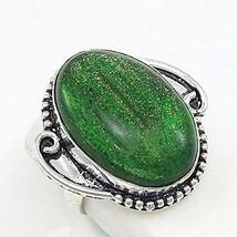 Ring Precious Oval Green Dichroic Glass Retro 925 Sterling Silver Sz 8.5 - $18.00